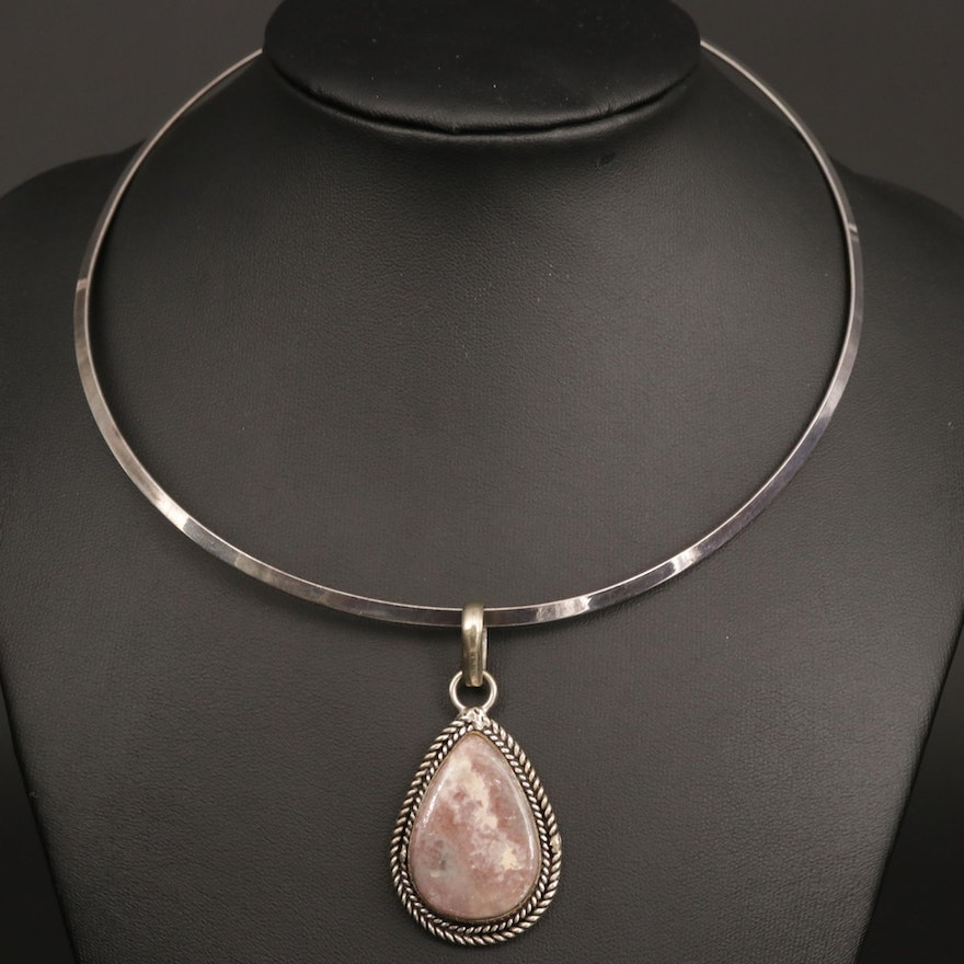 Sterling Silver Collar Necklace with Lepidolite Pendant