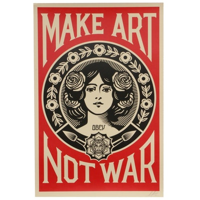 "Shepard Fairey Offset Poster ""Make Art Not War,"" 2019"