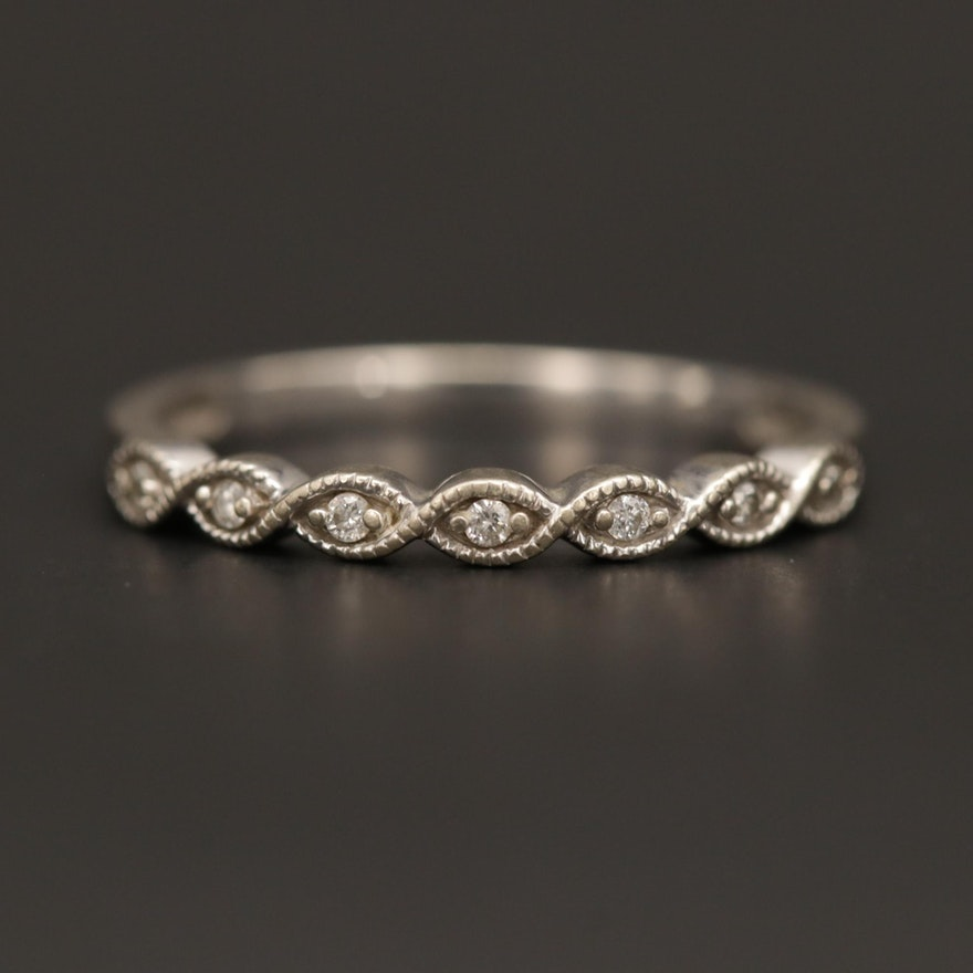 10K White Gold Diamond Band with Milgrain Detail