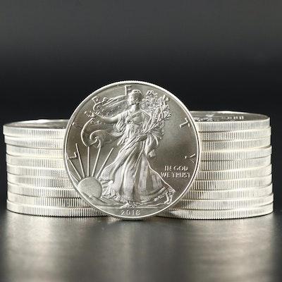 Roll of Twenty American Silver Eagle Bullion Coins