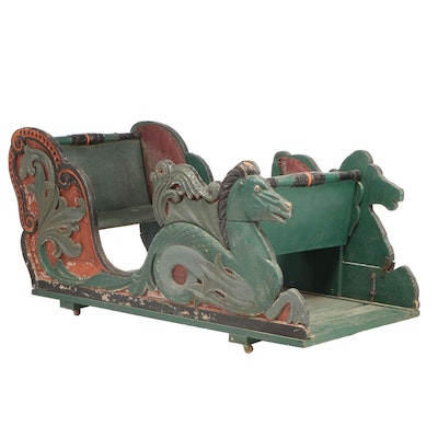 Carved and Polychromed Hippocampus Carousel Sleigh, Late 19th/Early 20th Century