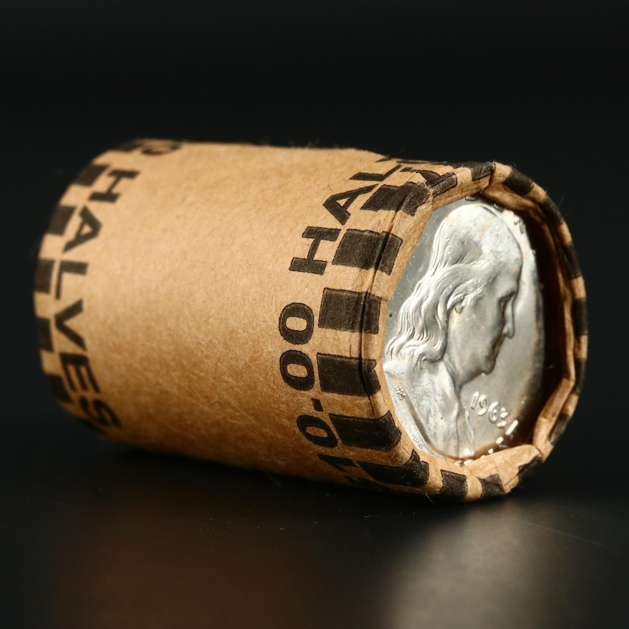 Roll of Uncirculated 1963-D Franklin Silver Half Dollars