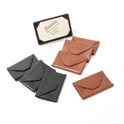 Bosca Leather Envelope Card Cases in Black and Saddle Brown