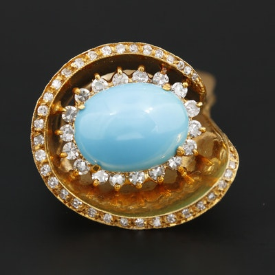 1960s 18K Yellow Gold Turquoise and Diamond Ring