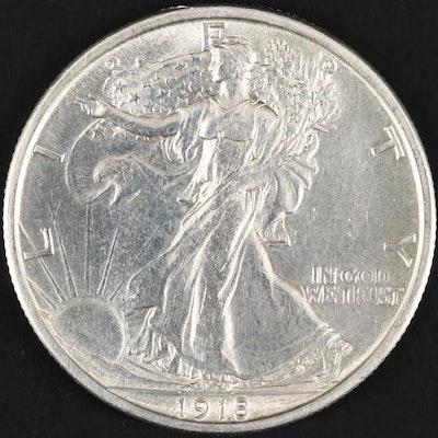 High Grade 1918-S Walking Liberty Silver Half Dollar