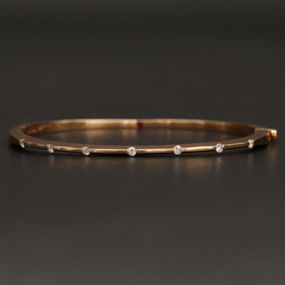 "Roberto Coin ""Classica"" 18K Rose Gold Diamond Bangle Bracelet"