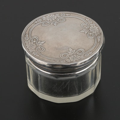 Theodore W. Foster & Bro. Sterling and Glass Vanity Jar, Early 20th Century