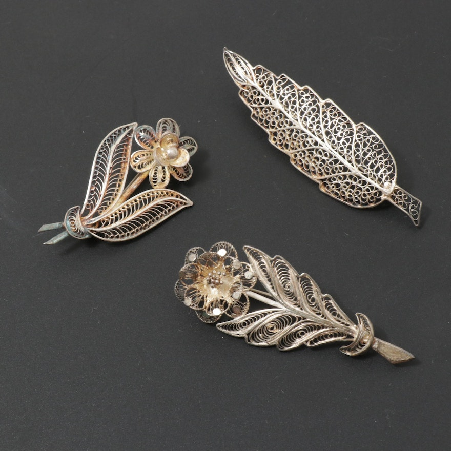 Sterling Silver Filigree Botanical Brooches, 1970s