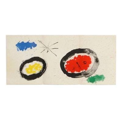 """Joan Miró Triple-Page Color Lithograph for """"Derrière le Miroir,"""" 1961"""