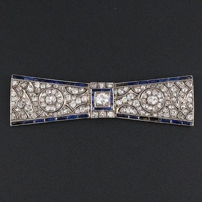 Art Deco 800 Silver 3.14 CTW Diamond and Sapphire Brooch