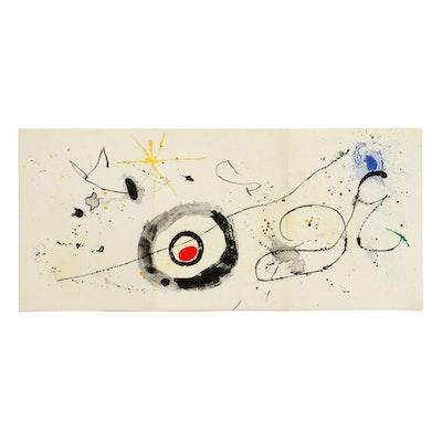 """Joan Miró Triple-Page Color Lithograph for """"Derrière le Miroir,"""" 1963"""