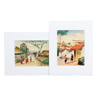 Guatemalan Street Scene Watercolor Paintings, Mid to Late 20th Century