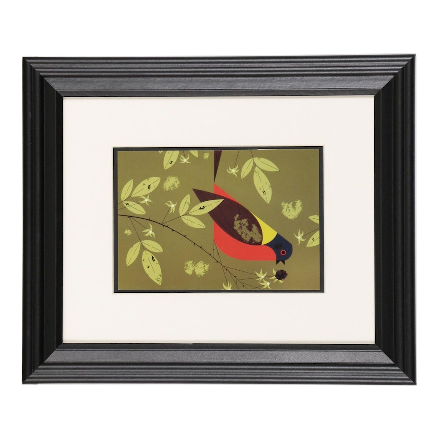 "Offset Lithograph after Charley Harper Ford Times ""Painted Bunting"""
