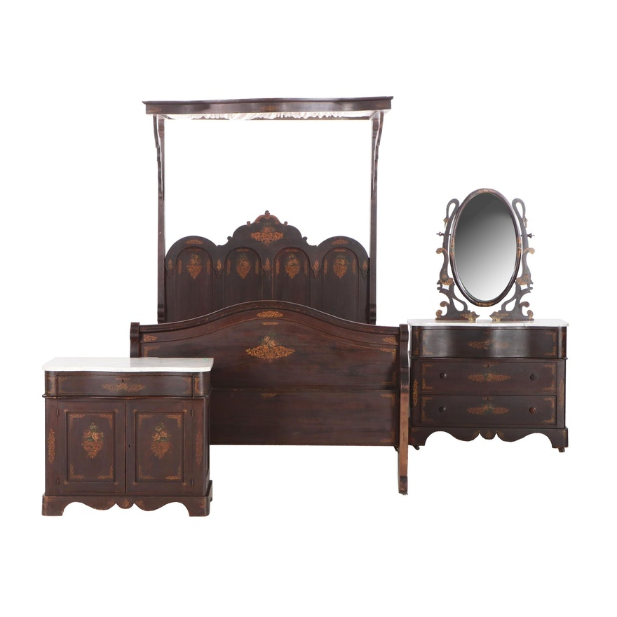 Three-Piece Victorian Rosewood-Grained and Gilt-Stenciled Cottage Bedroom Suite