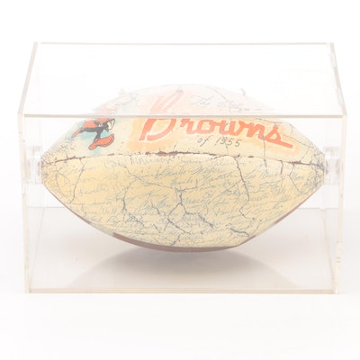 1955 Cleveland Browns Signed Logo Football, Includes Paul Brown, NFL Champs