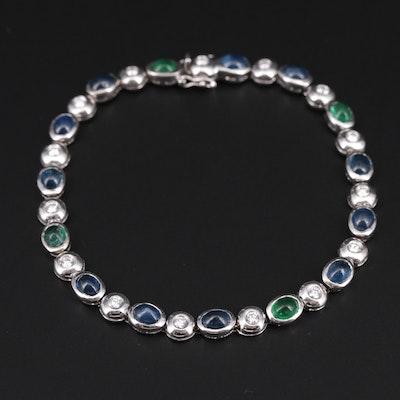 18K White Gold Emerald, Sapphire and Diamond Bracelet