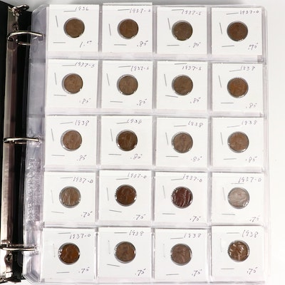 Album of 310 Lincoln Wheat Cents Ranging from 1910-1958