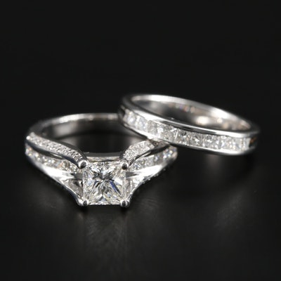 Verragio 18K Gold 1.97 CTW Diamond Ring and GIA Report and 14K Diamond Band