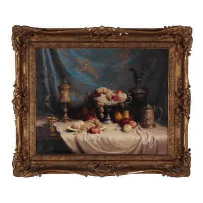 John Friedlinger Monumental Oil Painting of Still Life with Fruit