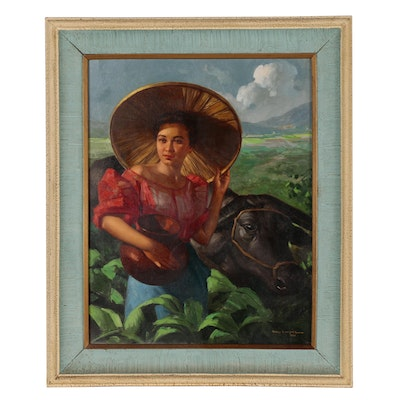 Romeo Enriquez Oil Painting of Woman with Cow, Mid 20th Century