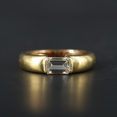 Circa 1999 18K Yellow and White Gold 1.42 CT Diamond Ring