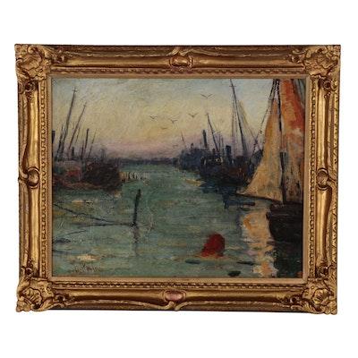 "Paul King Harbor Scene Oil Painting ""Stony Brook"""