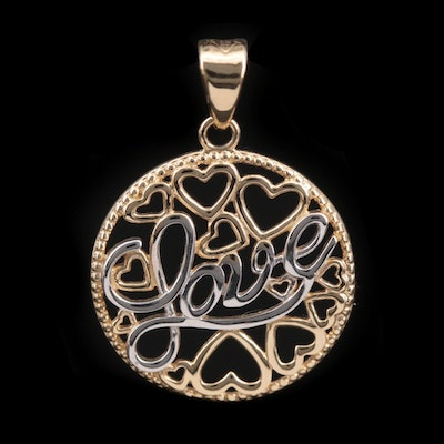 """14K Yellow Gold """"Love"""" Pendant with White Gold Accents"""