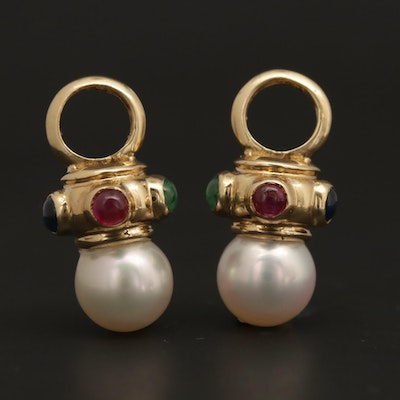 14K Yellow Gold Pearl, Emerald, Ruby and Sapphire Earring Enhancers