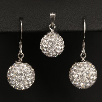 Sterling Silver Glass Dangle Earrings and Pendant