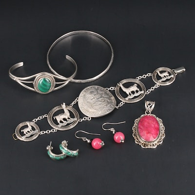 Assorted Sterling Silver Jewelry Featuring Southwestern Style and 1891 Sol Coin