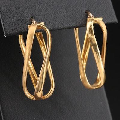 18K Yellow Gold Openwork Twist Earrings