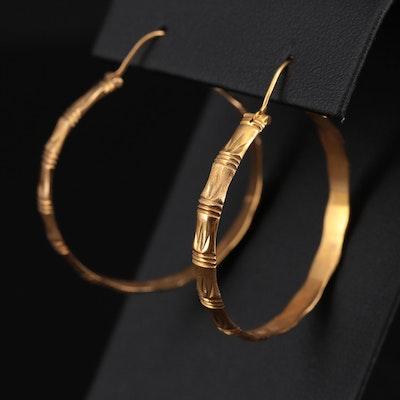 14K Yellow Gold Bamboo Patterned Hoop Earrings
