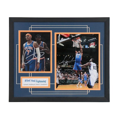 Framed Carmelo Anthony and Amar'e Stoudemire Signed Display  COa