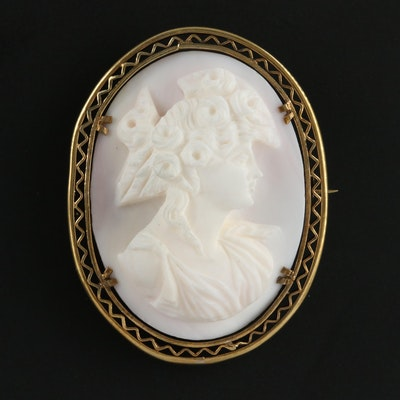 Vintage Carved Conch Shell Cameo Brooch