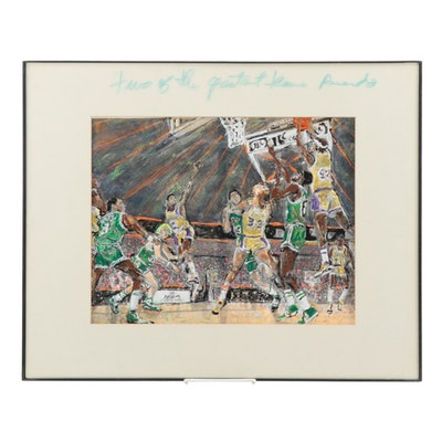 Mix Media Artwork Featuring Celtics and the Lakers