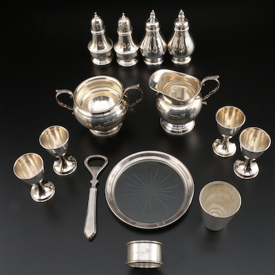 Gorham Sterling Silver Sugar and Creamer with Other Sterling Silver Tableware