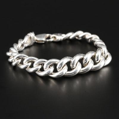 Sterling Silver Graduated Curb Link Bracelet