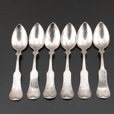 J. F. G. Melich Coin Silver Fiddle Handel Teaspoons, Mid-19th Century