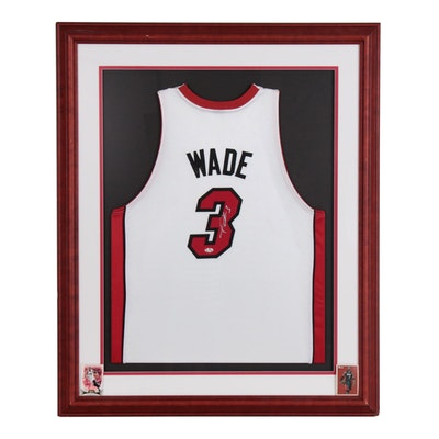 Framed Dwyane Wade Signed Miami Heat Replica Jersey  COA