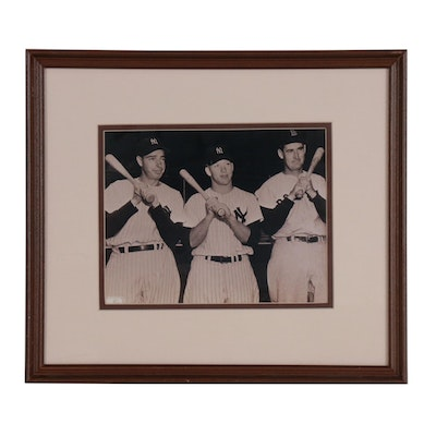 Framed DiMaggio, Mantle and Williams Photo Print