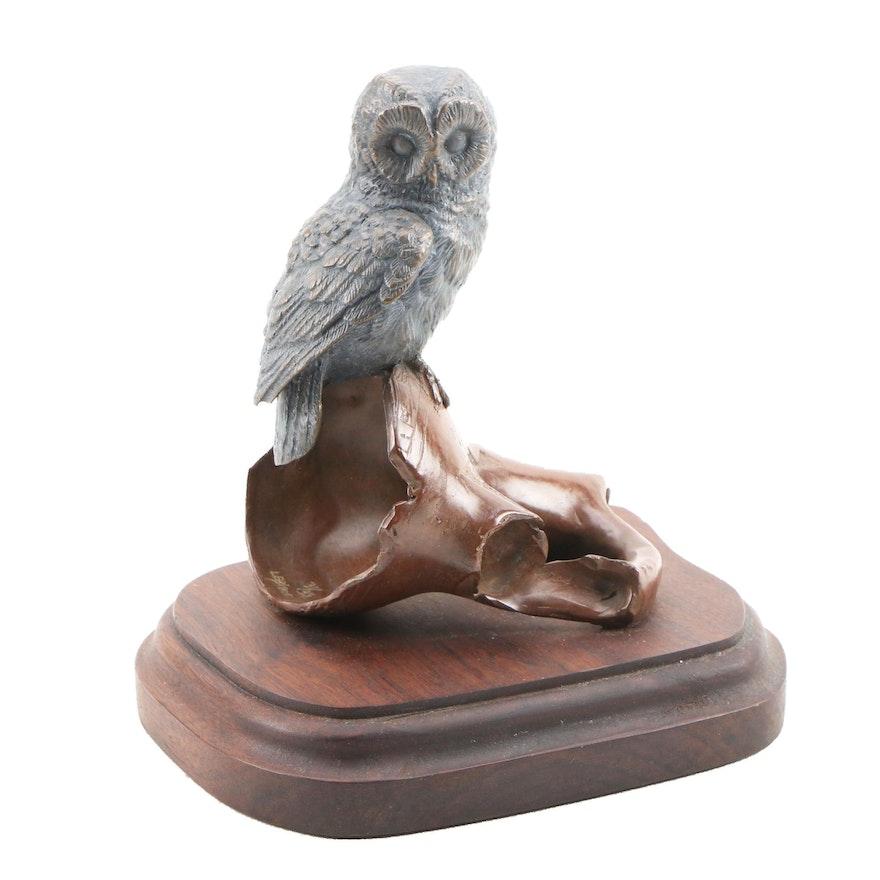 Stephen LeBlanc Bronze Owl Sculpture