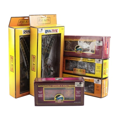 M.T.H. and Rail King Model Train Cars with Track in Original Packaging