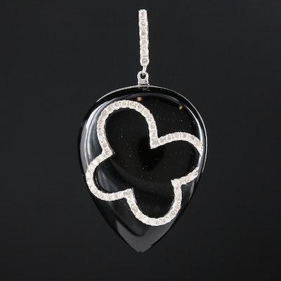 14K White Gold Black Onyx and Diamond Pendant
