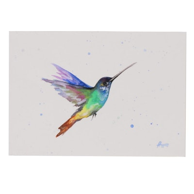 Anne Gorywine Watercolor Painting Portrait of Hummingbird