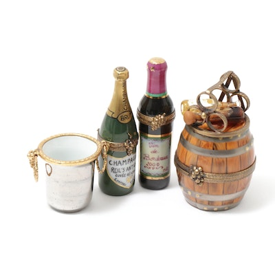 Pierre Arquie and Other Hand-Painted Champagne and Wine Porcelain Limoges Boxes