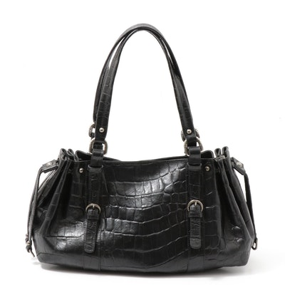 Stuart Weitzman Crocodile Embossed Black Leather Shoulder Bag