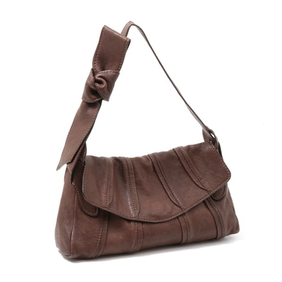 Valentino Garavani Front Flap Brown Leather Shoulder Bag with Bow