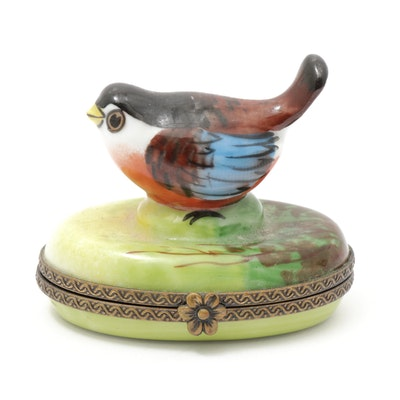 Chamart Hand-Painted Porcelain Bird Limoges Trinket Box