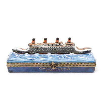 """La Gloriette Hand-Painted Porcelain """"Titanic"""" Limoges Trinket Box"""