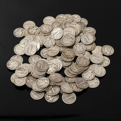 One Hundred Forty Mercury Silver Dimes